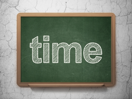 Timeline concept: text Time on Green chalkboard on grunge wall background, 3d render photo