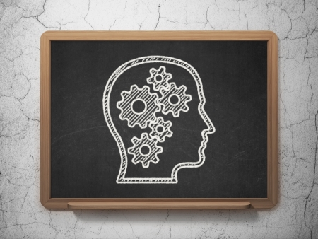 Information concept: Head With Gears icon on Black chalkboard on grunge wall background, 3d render photo