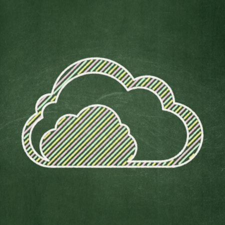 Cloud technology concept: Cloud icon on Green chalkboard background, 3d render photo