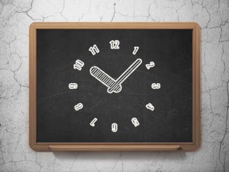 Time concept: Clock icon on Black chalkboard on grunge wall background, 3d render photo
