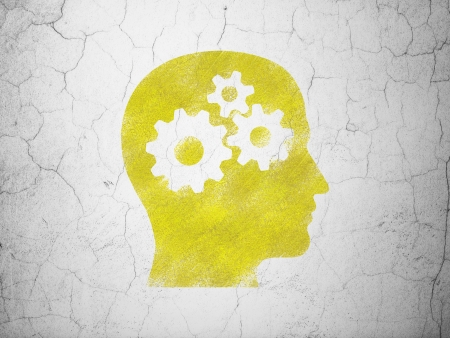Business concept: Yellow Head With Gears on textured concrete wall background, 3d render photo