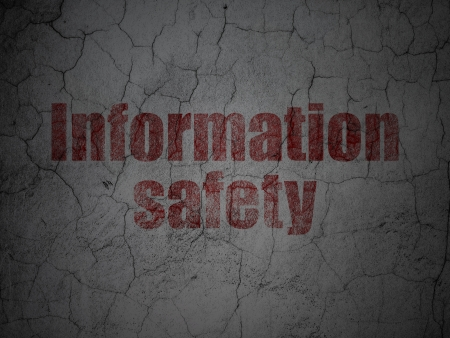 Privacy concept: Red Information Safety on grunge textured concrete wall background, 3d render