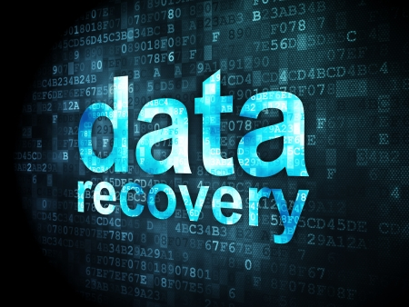data recovery: Information concept: pixelated words Data Recovery on digital background, 3d render
