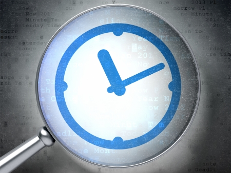Time concept: magnifying optical glass with Clock icon on digital background, 3d render photo
