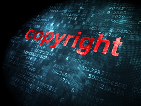 Law concept: pixelated words Copyright on digital background, 3d render photo