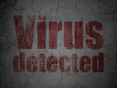 detected: Security concept: Red Virus Detected on grunge textured concrete wall background, 3d render