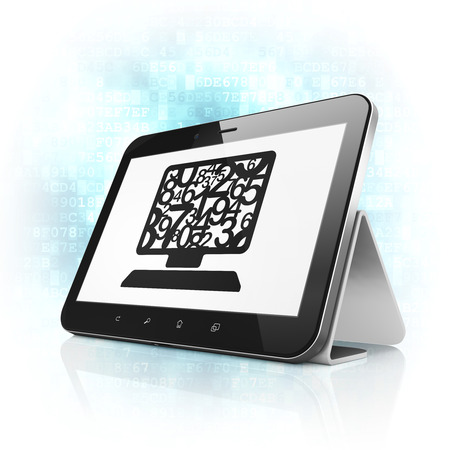 Education concept: black tablet pc computer with Computer Pc icon on display. Modern portable touch pad on Blue Digital background, 3d render Stockfoto