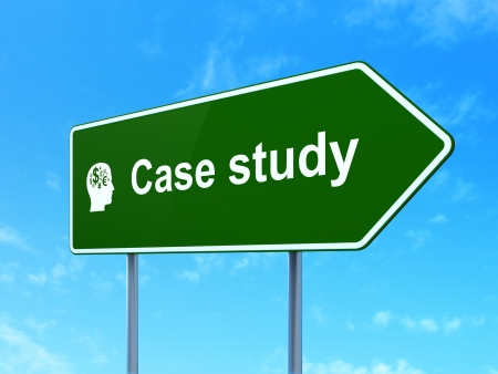 Education concept: Case Study and Head With Finance Symbol icon on green road (highway) sign, clear blue sky background, 3d render photo