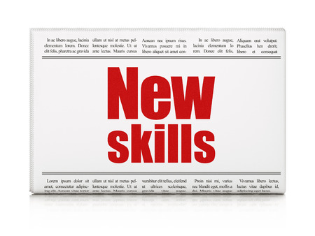 Education concept: newspaper headline New Skills on White background, 3d render photo