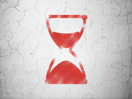 Timeline concept: Red Hourglass on textured concrete wall background, 3d render photo