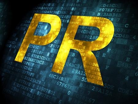 Marketing concept: pixelated words PR on digital background, 3d render photo