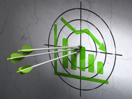 Success news concept: arrows hitting the center of Green Decline Graph target on wall background, 3d render photo