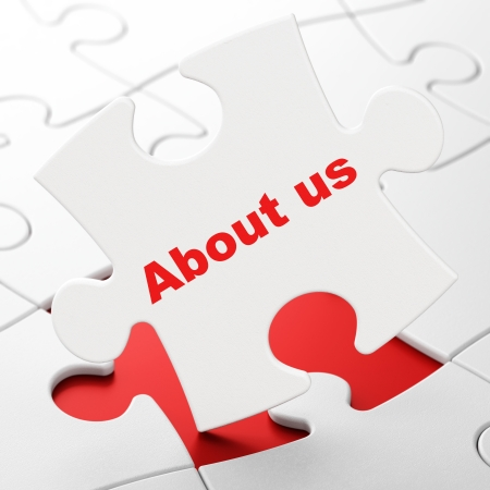 red puzzle piece: Marketing concept: About Us on White puzzle pieces
