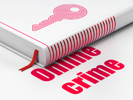 Security concept: closed book with Red Key icon and text Online Crime on floor photo
