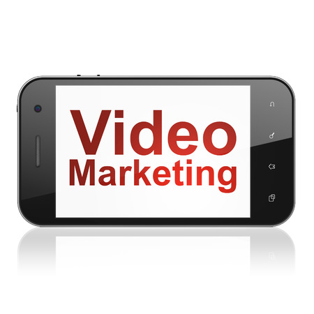 Finance concept: smartphone with text Video Marketing on display. Mobile smart phone on White photo