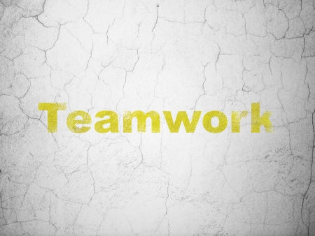 buisnes: Finance concept: Yellow Teamwork on textured concrete wall Stock Photo
