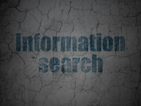 Information concept: Blue Information Search on grunge textured concrete wall photo
