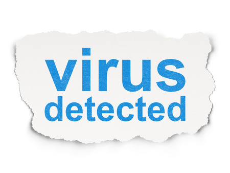 detected: Privacy concept: torn paper with words Virus Detected on Paper Stock Photo