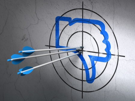 Success social media concept: arrows hitting the center of Blue Thumb Down target on wall photo