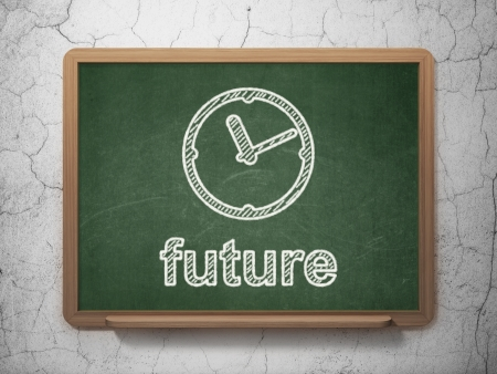 Time concept: Clock icon and text Future on Green chalkboard on grunge wall photo