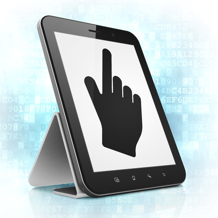 Web development concept: black tablet pc computer with Mouse Cursor icon on display. Modern portable touch pad on Blue photo
