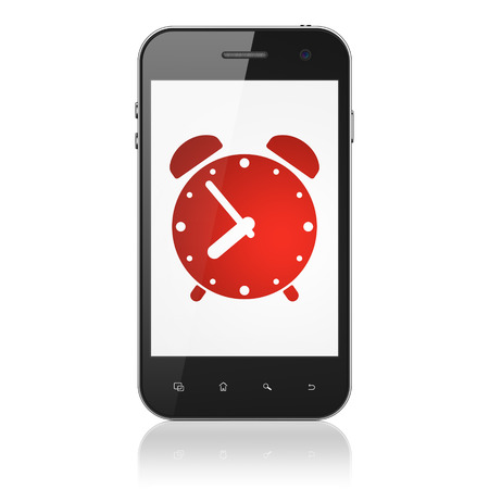Time concept: smartphone with Alarm Clock icon on display. Mobile smart phone on White background, cell phone 3d render photo