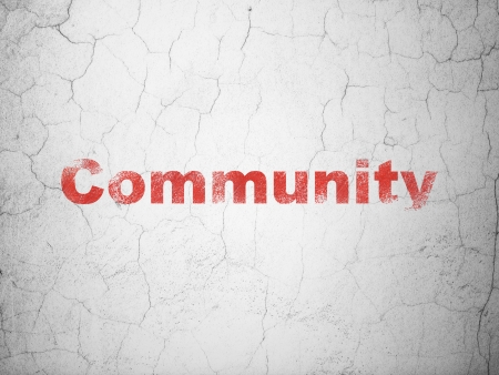 microblog: Social media concept: Red Community on textured concrete wall background, 3d render
