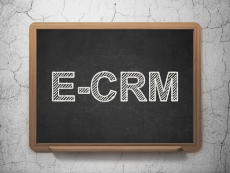 ecrm: Finance concept: text E-CRM on Black chalkboard on grunge wall background, 3d render Stock Photo