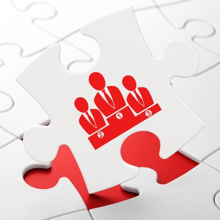 News concept: Business Team on White puzzle pieces background, 3d render photo