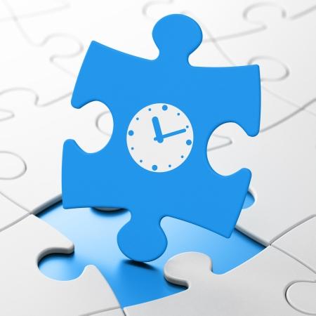 Timeline concept: Clock on Blue puzzle pieces background, 3d render photo