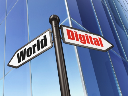 Information concept: sign Digital World on Building background, 3d render photo