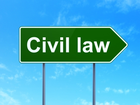 Law concept: Civil Law on green road (highway) sign, clear blue sky background, 3d render photo