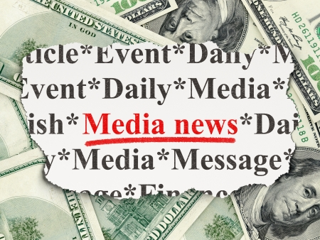 News concept: torn newspaper with words Media News on Money background, 3d render photo
