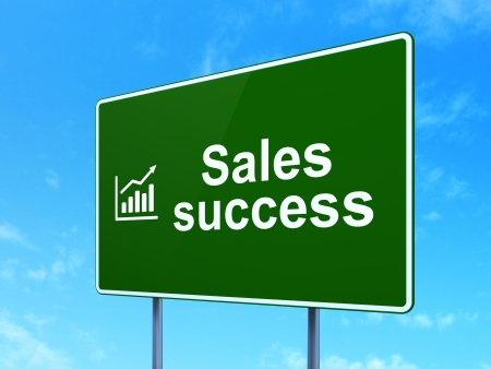 Marketing concept: Sales Success and Growth Graph icon on green road (highway) sign, clear blue sky background, 3d render photo