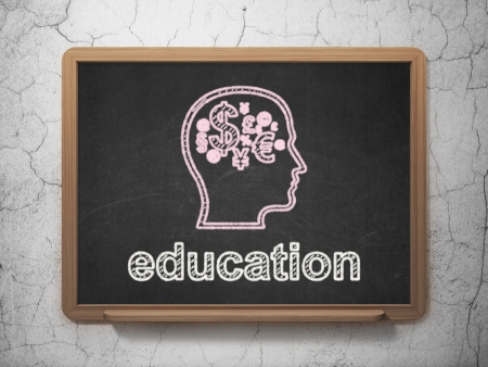 Education concept: Head With Finance Symbol icon and text Education on Black chalkboard on grunge wall background, 3d render photo