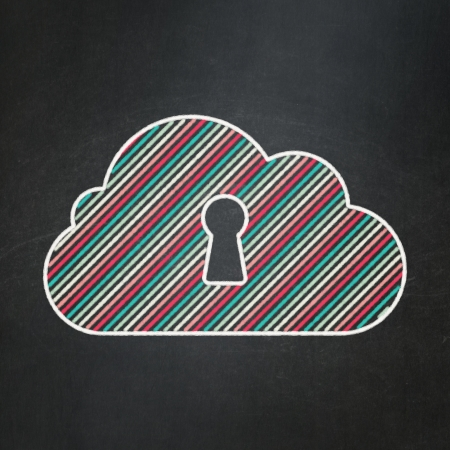 Cloud technology concept: Cloud With Keyhole icon on Black chalkboard background, 3d render photo