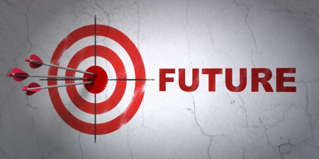 Success timeline concept: arrows hitting the center of target, Red Future on wall background, 3d render photo