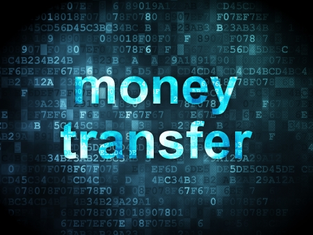 Finance concept: pixelated words Money Transfer on digital background, 3d render photo