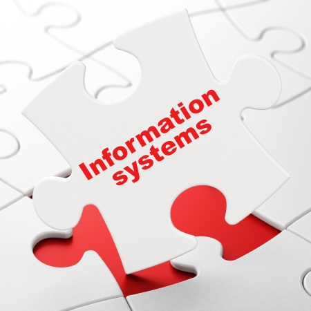 Information concept: Information Systems on White puzzle pieces background, 3d render photo