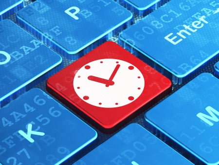 Time concept: computer keyboard with Clock icon on enter button background, 3d render photo