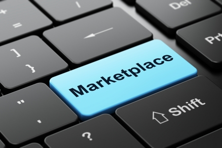 광고 개념 : 단어로 컴퓨터 키보드 마켓 플레이스, 입력 단추 배경, 3d 렌더링에 선택한 포커스