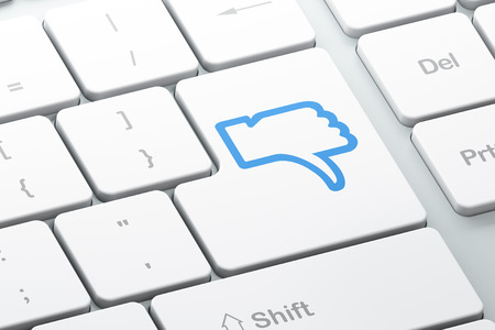 Social network concept: Enter button with Thumb Down on computer keyboard background, 3d render Stock Photo - 24602405