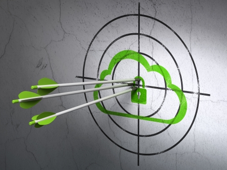 Success cloud computing concept: arrows hitting the center of Green Cloud With Padlock target on wall background, 3d render photo