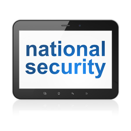 Protection concept: black tablet pc computer with text National Security on display. Modern portable touch pad on White background, 3d render photo