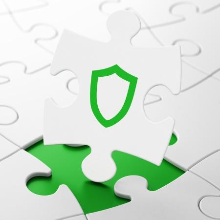 contoured: Concepto de seguridad: contorneada Shield en pedazos del rompecabezas Fondo blanco, 3d