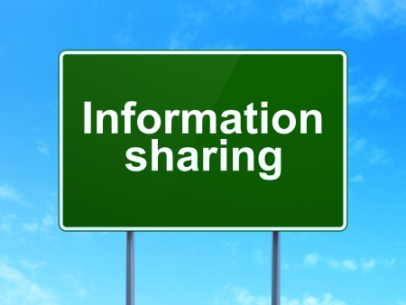 Data concept: Information Sharing on green road (highway) sign, clear blue sky background, 3d render photo