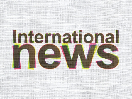 News concept: CMYK International News on linen fabric texture background, 3d render photo