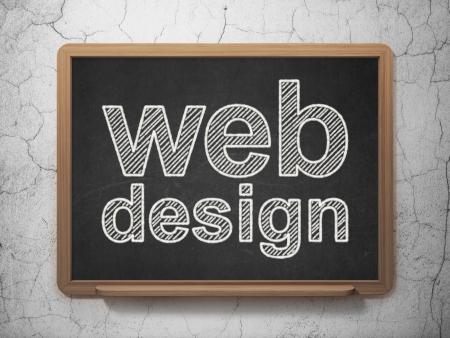 website words: Web design concept: text Web Design on Black chalkboard on grunge wall background, 3d render