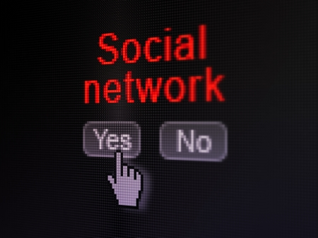 Social media concept: buttons yes and no with pixelated word Social Network and Hand cursor on digital computer screen, selected focus 3d render photo