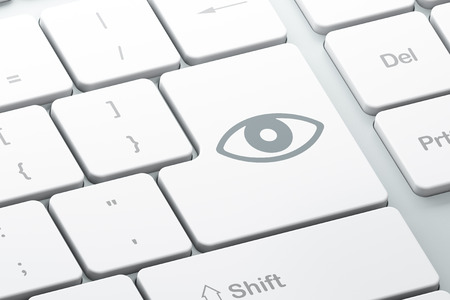 Protection concept: Enter button with Eye on computer keyboard background, 3d render photo